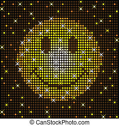 Sparkly smiley face - Smiley face rendered in sparkly disco...