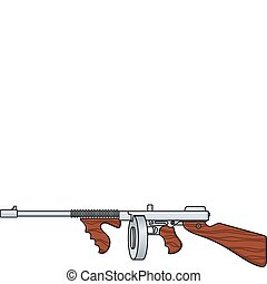 Tommy Gun - Vector illustration of a vintage submachine gun