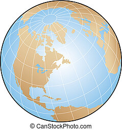 World Globe - Globe illustration focusing on North America...