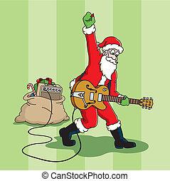 Rockin%u2019 Santa - Santa Claus plays an electric guitar.