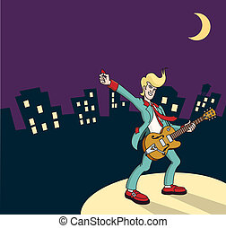 Rock and Roll guitarist with city - Vector illustration of a...