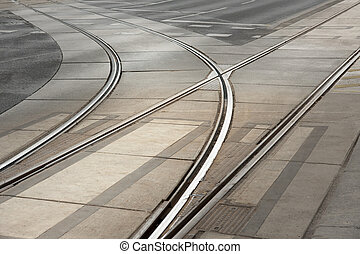 Tramway - Curved double tracks of tram in street