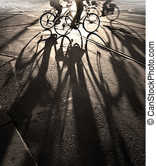 Cyclists - Silhouette of cyclists at sunrise, casting long...