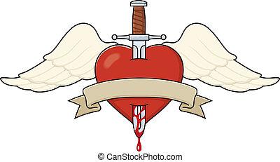 Tattoo-style heart illustration