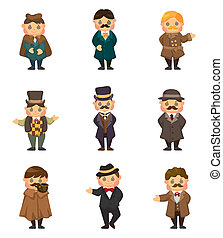 cartoon retro gentleman icon