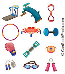 cartoon Fitness Equipment icons