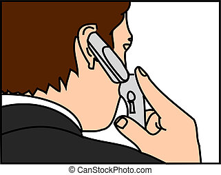 Man on Cell Phone - a man on cell phone vector