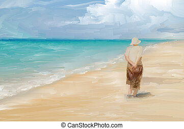 Beachcombing - Painting of a woman wandering along a...