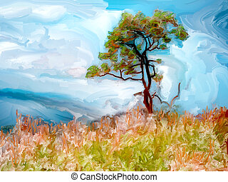 Landscape tree - Painting of a single tree on a grassy...