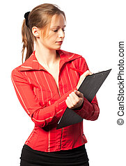 Businesswoman taking notes on white background