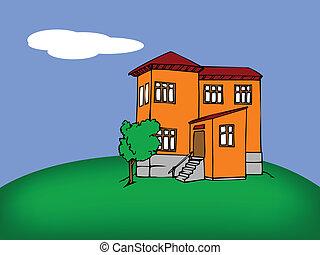 Cartoon house - a house with a tree near it against blue sky...