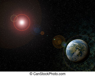 Sunlight - Blue, earth-like planet with shiny star