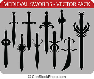medieval swords - Vector pack of ten abstract medieval...