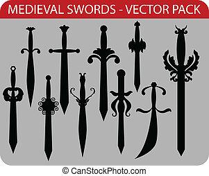 medieval, espadas