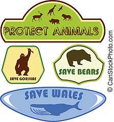 save animals - Vector pack of four colorful labels with with...