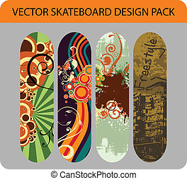 Skateboard design pack 1 - Vector pack of four skateboard...