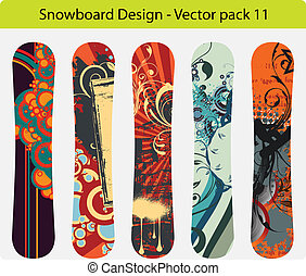 snowboard design pack 11 - Vector pack of five snowboard...