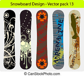 snowboard design pack 13 - Vector pack of five snowboard...
