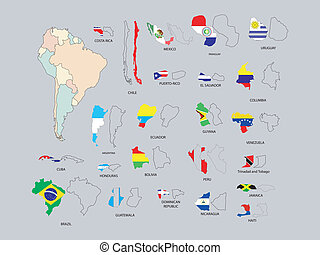 South America - illustration of south American countries...