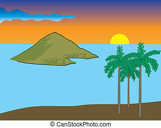 Tropical island sunset vector illustration