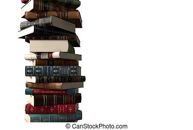 Vertical Stack of books - Vertical stack of books on white...