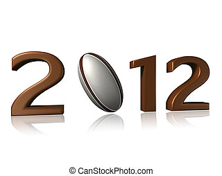 2012 rugby design on white background