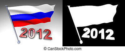 2012 design and Russia flag on a pole