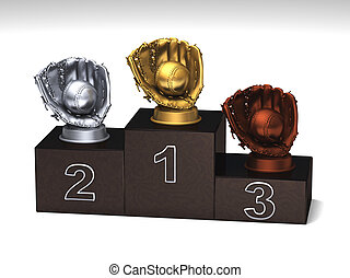 Baseball dark wood podium