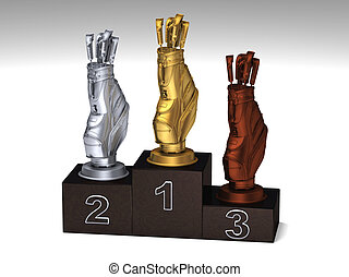 Golf dark wood podium with trophies