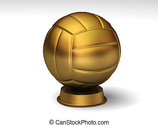 Golden volleyball trophy
