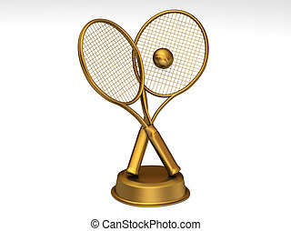 Golden tennis trophy - Close-up on a golden tennis trophy