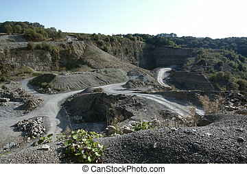 quarry scenery with roads at summer time