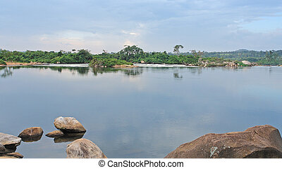 waterside River Nile scenery near Jinja - idyllic waterside...
