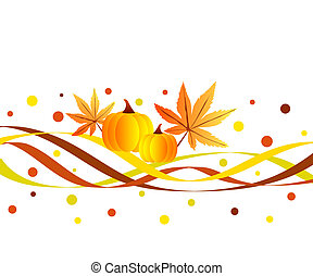 Funky fall design - Fall season pumpkins and leaves