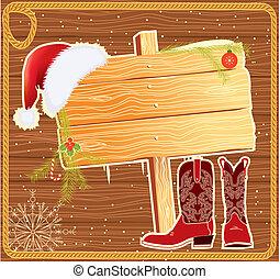 tabellone, cornice, santa, Claus, cappello, vettore, Natale,...