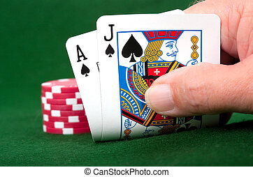 Blackjack Winner - Winning Blackjack hand with poker chip...