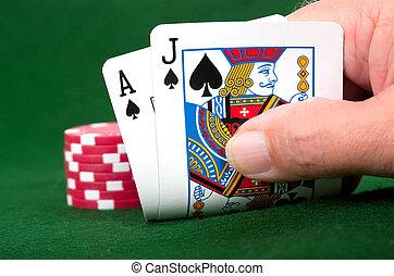 Blackjack Winner - Winning Blackjack hand with poker chip...
