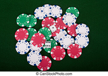 Dice On Poker Chips - Pair of dice on a pile of poker chips