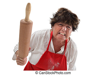 Angry grandmother with rolling pin - Photo of an angry old...