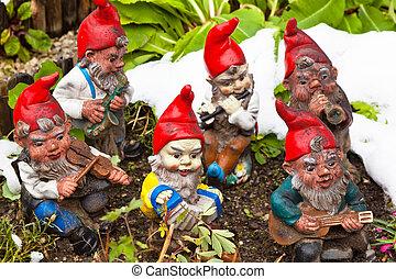 jardim, gnomes, jardim