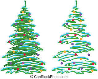 Christmas tree with ornaments - Christmas holiday tree with...