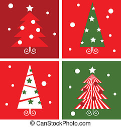 Christmas Trees design blocks icons. Vector illustration in retro style.