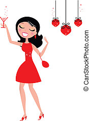 Pretty Christmas Woman holding glass with cocktail - Cute...
