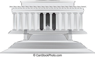 Lincoln memorial illlustration - Detailed stylized vector...
