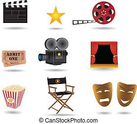 filme, vetorial, ícones