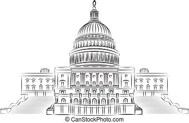Capitol hill outline vector illustr