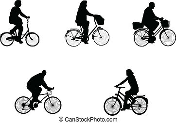 illustrations of bicycle riders
