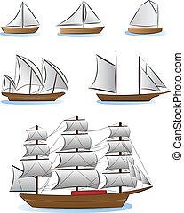 barche vela, navi, illustrazione