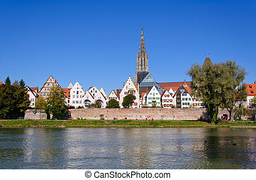 Ulm, Germany - Old Town of Ulm and Danube River in autumn.