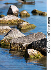 Rocks in the water - Beautiful waterfront mossy rocks in...